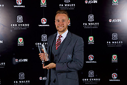 CARDIFF, WALES - Monday, October 2, 2017: FAW Player of the Year Chris Gunter with his award during the FAW Awards Dinner at the Hensol Castle. (Pic by David Rawcliffe/Propaganda)