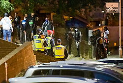 © Licensed to London News Pictures. 18/07/2020. London, UK. The scene at an estate in South Kilburn in North West London where police are currently dealing with an illegal street party, after lockdown rules were relaxed further. Photo credit: Ben Cawthra/LNP