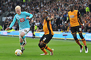 Derby County's Will Hughes (19) and Hull City midfielder Moses Odubajo (2) during the Sky Bet Championship play off 2nd leg match between Hull City and Derby County at the KC Stadium, Kingston upon Hull, England on 17 May 2016. Photo by Ian Lyall.