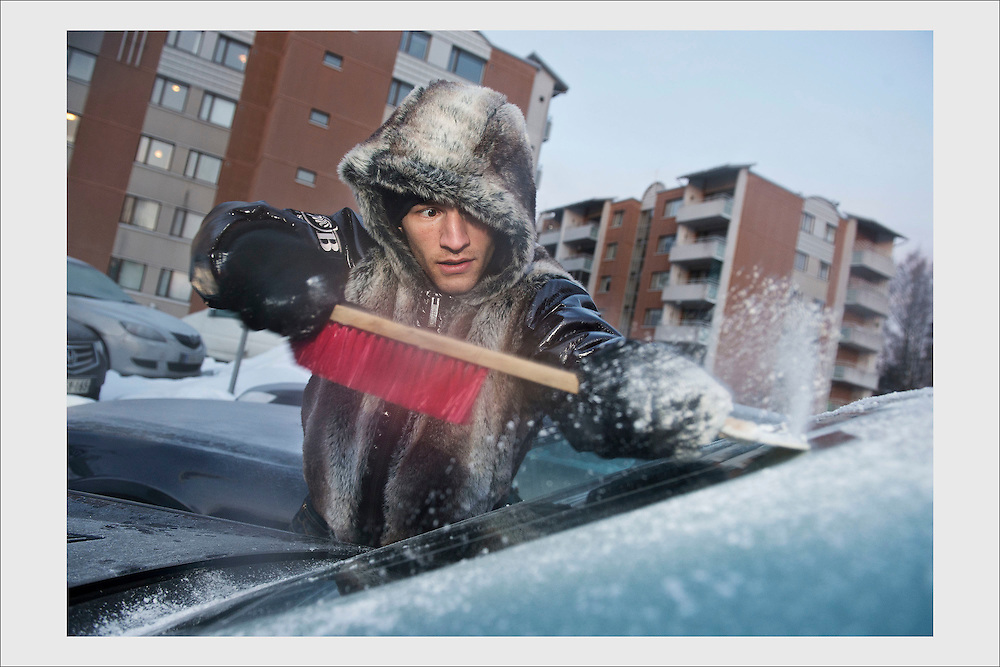 Boxer Edis Tatli at dawn leaving for training in the suburbs of Vantaa. February 26, 2013.