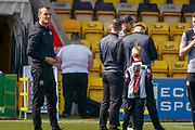 Oran Kearney St Mirren Manager out with his players ahead of the Ladbrokes Scottish Premiership match between Livingston and St Mirren at Tony Macaroni Arena, Livingstone, Scotland on 20 April 2019.