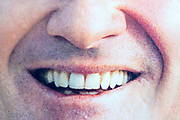 extreme mouth close up crop from a newspaper or magazine style print with halftone print dots