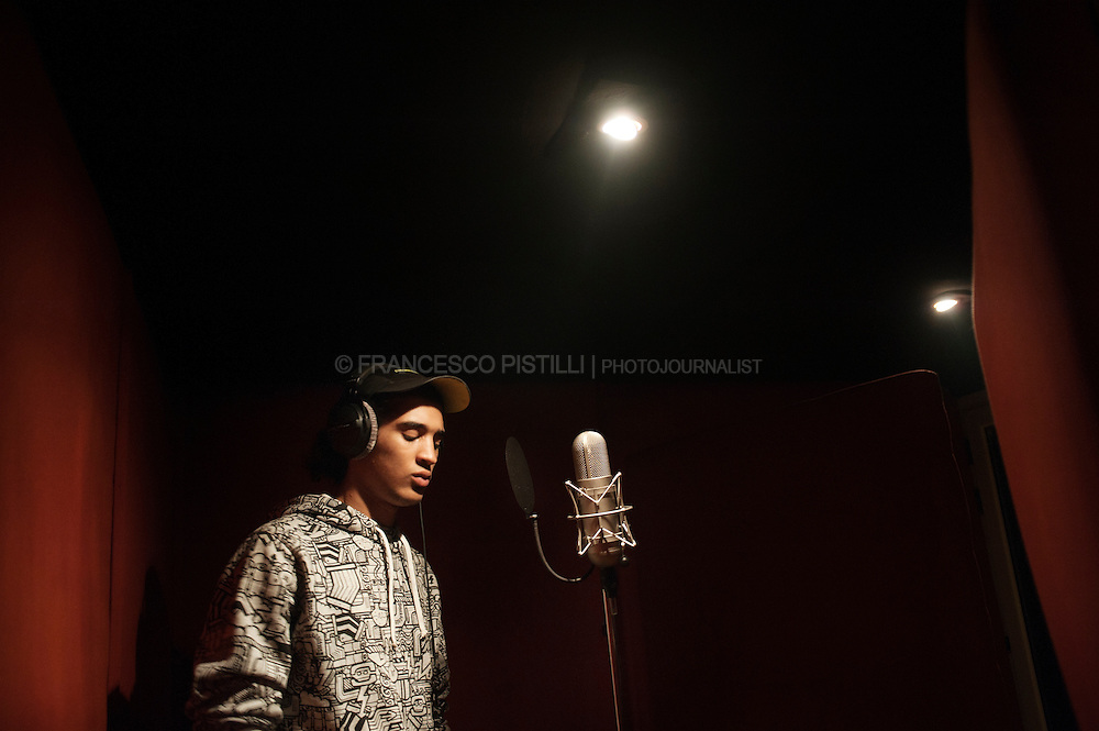 December 10, Cairo 2011. Egypt. A palestinian Mc from Gaza recording a voice track at Arab League Records Studio.