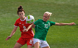 MARBELLA, SPAIN - Tuesday, March 5, 2019: Wales' Angharad James (L) and Republic of Ireland's Denise O'Sullivan during an international friendly match between Wales and Republic of Ireland at the Estadio Municipal de Marbella. (Pic by David Rawcliffe/Propaganda)