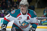 KELOWNA, CANADA -FEBRUARY 10: Damon Severson #7 of the Kelowna Rockets skates against the Seattle Thunderbirds on February 10, 2014 at Prospera Place in Kelowna, British Columbia, Canada.   (Photo by Marissa Baecker/Getty Images)  *** Local Caption *** Damon Severson;
