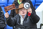 A Forest Green Fan cheering his team on during the FA Trophy 2nd round match between Chester FC and Forest Green Rovers at the Deva Stadium, Chester, United Kingdom on 14 January 2017. Photo by Shane Healey.