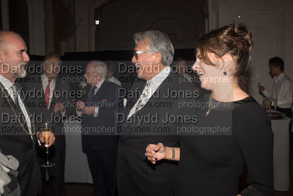PRESIDENT RA: CHRISTOPHER LE BRUN; SIR DAVID STARKEY; DAVID TANG; TRACEY EMIN;  Dinner and a performance and film screening from Carnet de and Mike Figgis (who has created a film especially for the event)  to celebrate David Tang and to mark the start of construction of the RA's £50 million redevelopment project.  Royal Academy. Piccadilly. London. 26 October 2015.