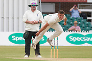 Gavin Griffiths bowling during the Specsavers County Champ Div 2 match between Leicestershire County Cricket Club and Durham County Cricket Club at the Fischer County Ground, Grace Road, Leicester, United Kingdom on 9 July 2019.
