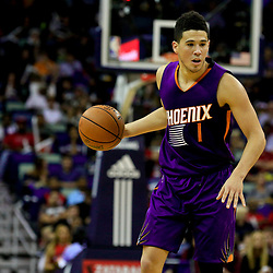 Nov 4, 2016; New Orleans, LA, USA; Phoenix Suns guard Devin Booker (1) against the New Orleans Pelicans during the second half of a game at the Smoothie King Center. Mandatory Credit: Derick E. Hingle-USA TODAY Sports