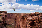 Aaron Livingston tries a 120' line near Moab.<br />