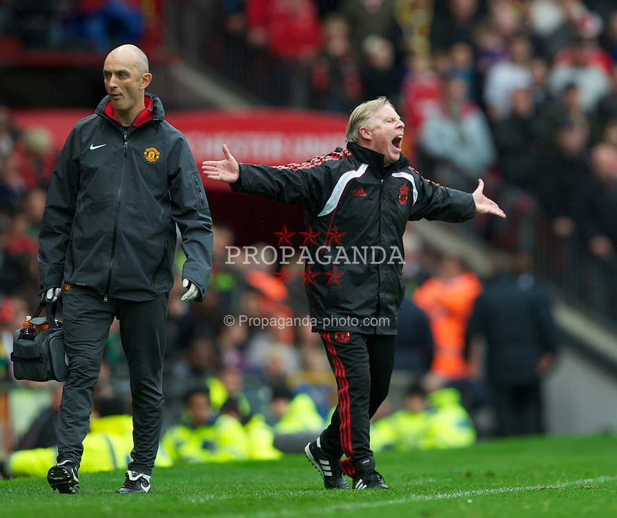 MANCHESTER, ENGLAND - Sunday, September 19, 2010: Liverpool's assistant manager Sammy Lee appeals for a decision during the Premiership match against Manchester United at Old Trafford. (Photo by David Rawcliffe/Propaganda)