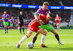 Muhamed Besic of Middlesbrough holds off Matty Taylor of Bristol City - Mandatory by-line: Matt McNulty/JMP - 14/04/2018 - FOOTBALL - Riverside Stadium - Middlesbrough, England - Middlesbrough v Bristol City - Sky Bet Championship