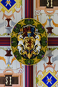Inside Stirling Castle, unicorns in the Scottish King's Bedchamber symbolize royal purity & strength. What's with the unicorn? Unicorns were first depicted in 2600 BC in ancient seals of the Indus Valley Civilization and were mentioned by the ancient Greeks. In Celtic mythology the unicorn symbolized purity, innocence, masculinity and power. The proud, haughty unicorn was chosen as Scotland's national animal because it would rather die than be captured, just as Scots would fight to remain sovereign and unconquered. The unicorn was first used on the Scottish royal coat of arms by William I in the 1100s, and two unicorns supported the shield until 1603. When James VI became James I of England and Ireland in 1603, he replaced one unicorn with the national animal of England, the lion, to demonstrate unity. Believed to be the strongest of all animals, wild and untamed, the mythical unicorn could only be humbled by a virgin maiden. However, Scotland's unicorn in the coat of arms is always bounded by a golden chain, often shown around its neck and body, symbolizing the power of the Scottish kings, strong enough to tame a unicorn. Most of Stirling Castle's main buildings date from the 1400s and 1500s, when it peaked in importance. Scotland, United Kingdom, Europe.