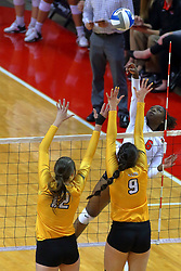 23 November 2017:  Juma Armando attacks towards Taylor Graboski and Brittany Anderson during a college women's volleyball match between the Valparaiso Crusaders and the Illinois State Redbirds in the Missouri Valley Conference Tournament at Redbird Arena in Normal IL (Photo by Alan Look)