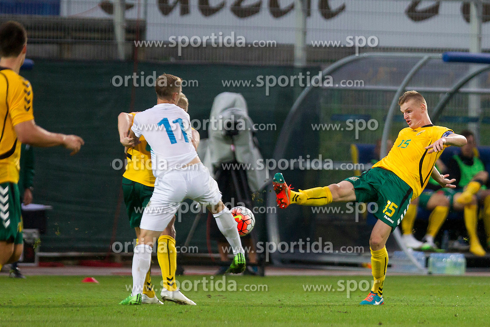 Justinas Janusevskis #15 of Lithuania during football match between U21 National Teams of Slovenia and Lithuania in 2nd Round of UEFA 2017 European Under-21 Championship Qualification on September 4, 2015 in Arena Petrol, Celje, Slovenia. Photo by Urban Urbanc / Sportida