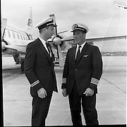 17/08/1962<br /> 08/17/1962<br /> 17 August 1962<br /> Aer Lingus crew members for Royal flight, who would fly Princess Margaret and Lord Snowden to Shannon, for an Irish holiday, from London that day at Dublin Airport. Pictured are 1st Officer Brian Luffingham and Captain B. Noble who would pilot the plane bringing the Royal's for their Irish holiday.