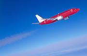 Airliner ascending to higher altitude