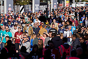 Fans arrive at Wembley ahead of the the International Series match between Tennessee Titans and Los Angeles Chargers at Wembley Stadium, London, England on 21 October 2018.