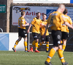 Annan Athletic's Peter Watson celebrates after scoring their third goal. half time : Forfar Athletic 1 v 3 Annan Athletic, Scottish Football League Division Two game played 6/5/2017 at Station Park.