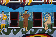 Mayo County. Westport, mural remembering traditional Celtic civilisation.