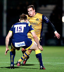 Gareth Maule of Bristol Rugby runs with the ball at Chris Pennell (capt) of Worcester Warriors - Mandatory by-line: Robbie Stephenson/JMP - 04/11/2016 - RUGBY - Sixways Stadium - Worcester, England - Worcester Warriors v Bristol Rugby - Anglo Welsh Cup