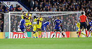 Cesc Fabregas shoots from a set piece during the Champions League match between Chelsea and Maccabi Tel Aviv at Stamford Bridge, London, England on 16 September 2015. Photo by Andy Walter.