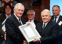 REPRO FREE***PRESS RELEASE NO REPRODUCTION FEE***<br /> Irish Sailing Awards, Royal College of Surgeons, Stephen's Green, Dublin 4/2/2016<br /> National Yacht Club sailor Liam Shanahan was named the 2015 Irish Sailor of the Year today at the Irish Sailing Awards in Dublin - Shanahan had a remarkable year, including victory in the Dun Laoghaire to Dingle race in June on his boat Ruth with two miles to spare.<br /> Kilkenny's Doug Elmes and Malahide's Colin O'Sullivan jointly took home the Irish Sailing Association (ISA) Youth Sailor of the Year award. The Howth Yacht Club sailors were hotly tipped following their recent Bronze medal success at the 2015 Youth World Championships in Malaysia, where they took Ireland's first doublehanded youth worlds medal in 19 years.<br /> The Mitsubishi Motors Sailing Club of the Year award was presented to the Royal Irish Yacht Club in honour of their success at local, national and international level.<br /> Mullingar Sailing Club took home the ISA Training Centre of the Year award, having been nominated as winners of the western-region Training Centre of the Year.<br /> Pictured is George Sisk, Sailor of the Month winner for July, and David Lovegrove, President ISA<br /> Mandatory Credit ©INPHO/Cathal Noonan