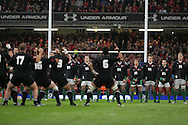 Wales players face the haka. Invesco Perpetual series, autumn international, Wales v New Zealand at the Millennium stadium in Cardiff  on Sat 7th Nov 2009. pic by Andrew Orchard, Andrew Orchard sports photography.  EDITORIAL USE ONLY