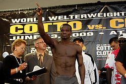 June 12, 2009; New York, NY, USA;  Joshua Clottey weighs in for his upcoming fight against Miguel Cotto. The two will meet on June 13, 2009 at Madison Square Garden.  Mandatory Credit: Ed Mulholland-US PRESSWIRE