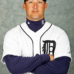 February 28, 2012; Lakeland, FL, USA; Detroit Tigers second baseman Ryan Raburn (25) poses for photo day in the rec room at the Detroit Tigers Headquarters.  Mandatory Credit: Derick E. Hingle-US PRESSWIRE