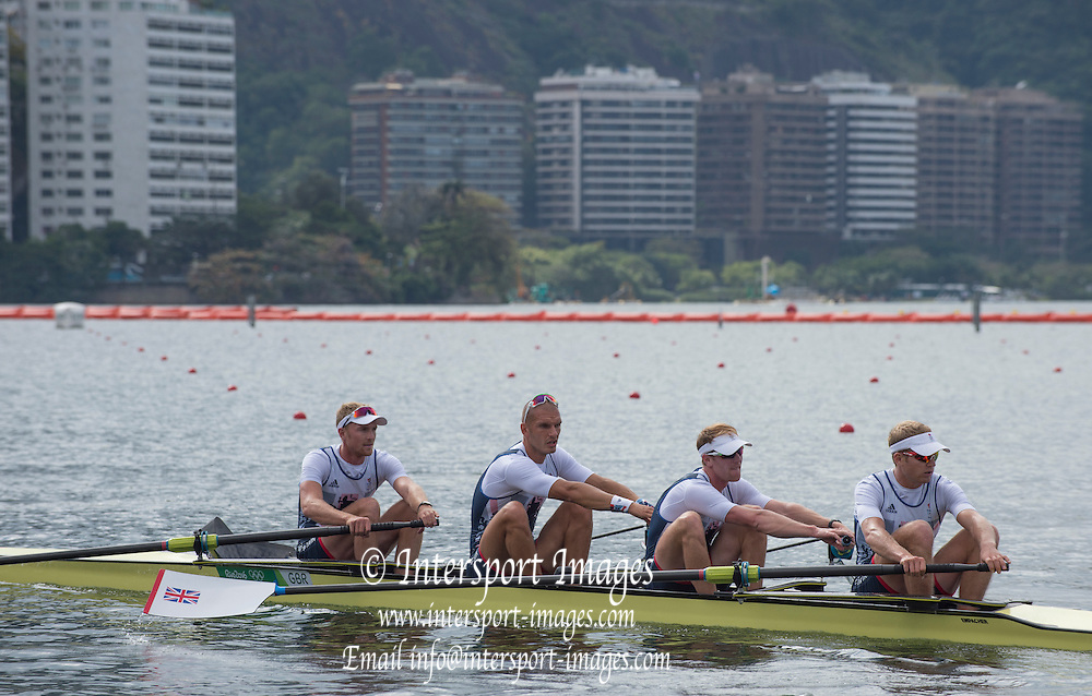 Rio de Janeiro. BRAZIL.  GBR M4-, Bow Alex GREGORY, Mohamed SBIHI, George NASH and Constantine LOULOUDIS. 2016 Olympic Rowing Regatta. Lagoa Stadium,<br /> Copacabana,  &ldquo;Olympic Summer Games&rdquo;<br /> Rodrigo de Freitas Lagoon, Lagoa. Local Time 09:49:41  Thursday  11/08/2016 <br /> [Mandatory Credit; Peter SPURRIER/Intersport Images]