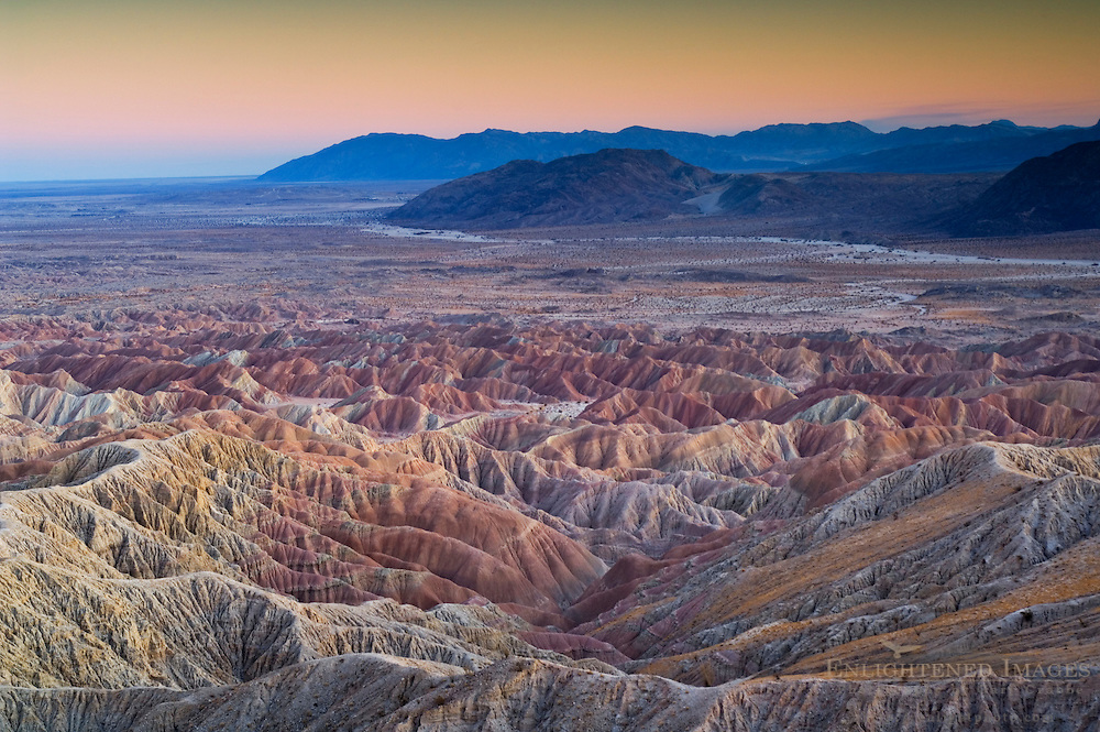 Evening light over eroded hills at the Borrego Badlands, from Fonts Point, Anza Borrego Desert State Park, San Diego County, California