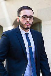 Witness Erick Siguenza outside the Old Bailey in London where the inquest into the London Bridge terror attack is taking place. London, May 13 2019.