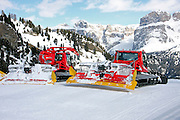 Italy, Italian Alps, The Dolomites Front end loader snowplough ready to clear the snoe