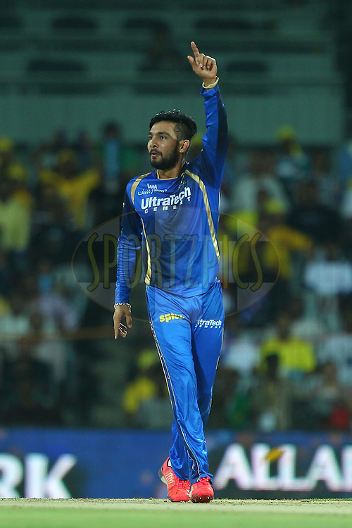 Ankit Sharma of the Rajasthan Royals appeals for the wicket of Brendon McCullum of the Chennai Superkings  during match 47 of the Pepsi IPL 2015 (Indian Premier League) between The Chennai Superkings and The Rajasthan Royals held at the M. A. Chidambaram Stadium, Chennai Stadium in Chennai, India on the 10th May 2015.<br /> <br /> Photo by:  Ron Gaunt / SPORTZPICS / IPL
