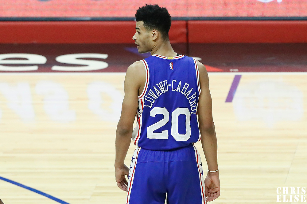 11 March 2017: Philadelphia 76ers guard Timothe Luwawu-Cabarrot (20) rests during the LA Clippers 112-100 victory over the Philadelphia Sixers, at the Staples Center, Los Angeles, California, USA.