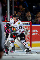 KELOWNA, CANADA - OCTOBER 21: Skyler McKenzie #43 of the Portland Winterhawks looks for the pass in front of the net of James Porter #1 of the Kelowna Rockets on October 21, 2017 at Prospera Place in Kelowna, British Columbia, Canada.  (Photo by Marissa Baecker/Shoot the Breeze)  *** Local Caption ***