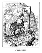 "The Scape-Chamois. ""If only I lived in a Free City!"" (a mountain goat stands at the South Tyrol pass with signposts 'To Germany' and 'To Italy' and a sign 'Notice to QUIT - by Order: A. Hitler, B. Mussolini)"