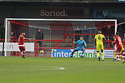 Ollie Palmer send Scott Flinders the wrong way to score from the penalty spot and celebrates  during the EFL Sky Bet League 2 match between Crawley Town and Cheltenham Town at the Broadfield Stadium, Crawley, England on 5 January 2019.