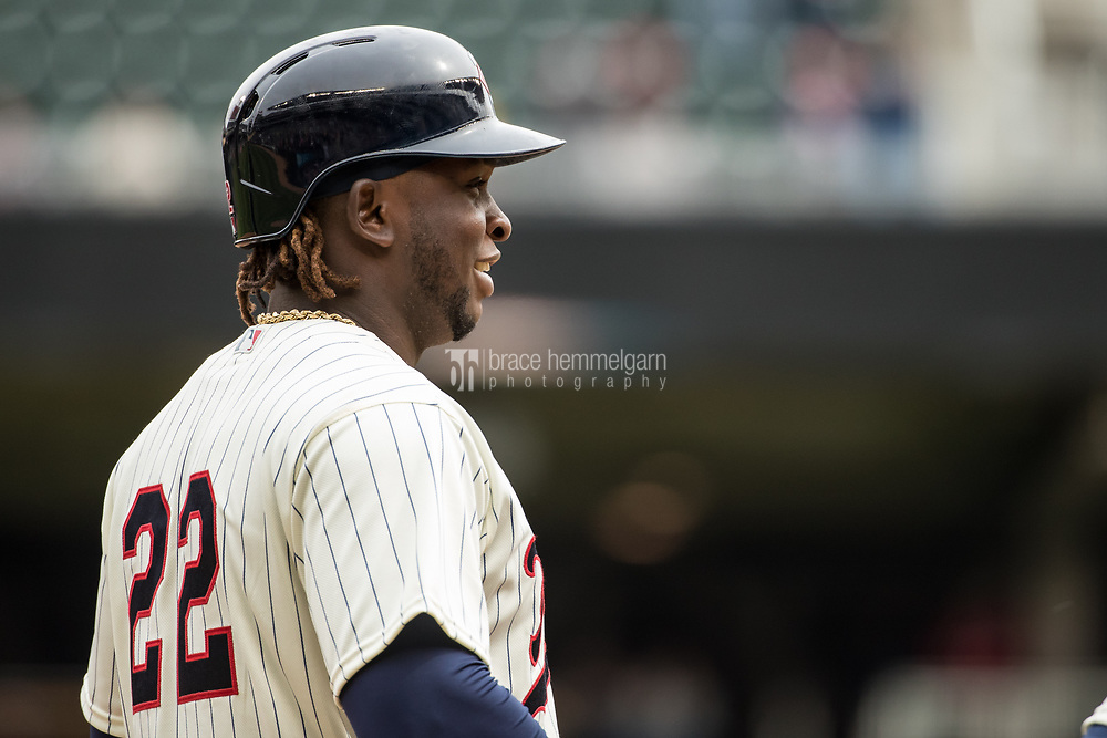 MINNEAPOLIS, MN- APRIL 5: Miguel Sano #22 of the Minnesota Twins looks on against the Kansas City Royals on April 5, 2017 at Target Field in Minneapolis, Minnesota. The Twins defeated the Royals 9-1. (Photo by Brace Hemmelgarn) *** Local Caption *** Miguel Sano
