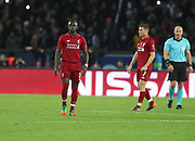 Sadio Mane of Liverpool disappointed during the Champions League group stage match between Paris Saint-Germain and Liverpool at Parc des Princes, Paris, France on 28 November 2018.