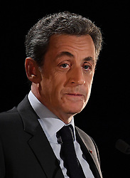 File photo - Former French President and candidate for right-wing party Les Republicains (LR) presidential primaries, Nicolas Sarkozy holds a public meeting at Theatre de Neuilly, in Neuilly-sur-Seine, near Paris, France on November 7, 2016. A French judge has ordered ex-President Nicolas Sarkozy to stand trial in an illegal campaign finance case. Mr Sarkozy faces accusations that his party falsified accounts in order to hide 18m euros of campaign spending in 2012. Mr Sarkozy denies he was aware of the overspending, and will appeal against the order to stand trial. Photo by Christian Liewig/ABACARESS.COM