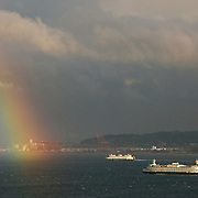 Evening rainbow over Elliott Bay, Seattle, Washington