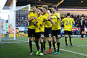 Burton Albion midfielder Michael Kightly (28) scores a goal 1-1 and celebrates during the EFL Sky Bet Championship match between Burton Albion and Wolverhampton Wanderers at the Pirelli Stadium, Burton upon Trent, England on 4 February 2017. Photo by Richard Holmes.