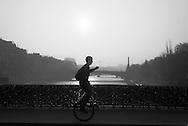 France. Paris. The archeveche bridge on the  seine river  beetween left bank and ile de la cite Paris France /  le pont de l archeveche sur la seine entre l ile de la cite et la rive gauche sur la Seine    France
