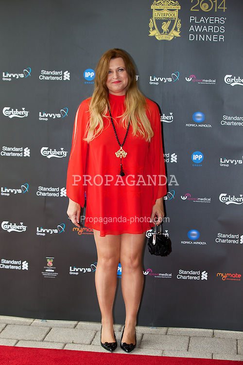LIVERPOOL, ENGLAND - Tuesday, May 6, 2014: Karen Gill arrives on the red carpet for the Liverpool FC Players' Awards Dinner 2014 at the Liverpool Arena. (Pic by David Rawcliffe/Propaganda)