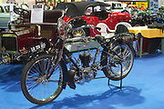 RIAC Classic Car Show 2013, RDS, 1912 SUN 3 3/4 HP, owner: John Quirke. This motorcycle left the Sun Cycle and Fittings Company works of Aston Street Birmingham in late 1912 for the 1913 season. It is powered by a precision 498cc engine manufactured by F E Baker of Birmingham. Irish, Photo, Archive.