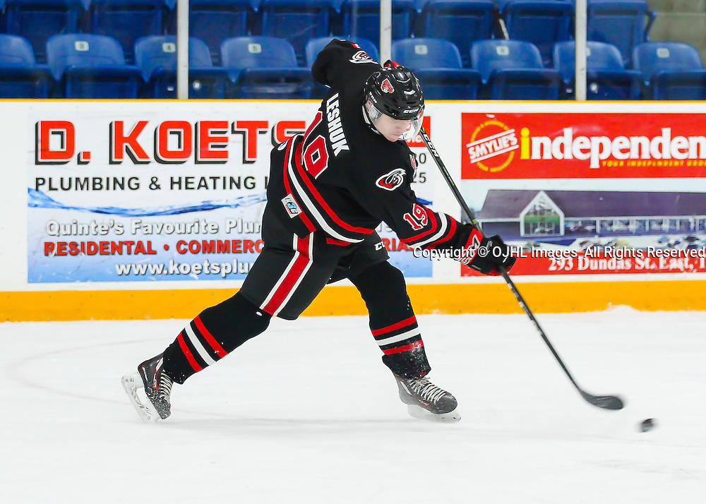 jTRENTON, ON - JAN 24,  2017: Ontario Junior Hockey League game between Milton and Mississauga at the 2017 Winter Showcase, Nick Leshuck #19 of the Milton Icehawks shoots the puck during the first period.<br /> (Photo by Ray MacAloney / OJHL Images)