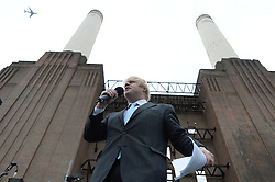 Prime Ministers of UK and Malaysia break ground at Battersea Power Station redevelopment.<br /> Boris Johnson, Mayor of London during a visit to the Battersea Power Station to celebrate ground breaking at London's most visionary and eagerly anticipated new development – eighty years after it first generated electricity and thirty years since it was decommissioned. <br /> Boris Johnson was also joined by Prime Minister David Cameron and and Prime Minister Najib Razak  ; Tan Sri Liew Kee Sin, President of S P Setia and Chairman of the shareholders' consortium; Tan Sri Dato' Mohd Bakke Salleh, President of Sime Darby; Datuk Shahril Ridza Ridzuan, Chief Executive Officer of Employees' Provident Fund (EPF) and Rob Tincknell CEO of Battersea Power Station Development Company.<br /> London, United Kingdom<br /> Thursday, 4th July 2013<br /> Picture by Andrew Parsons / i-Images