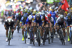 July 2, 2017 - Liege, Belgique - LIEGE, BELGIUM - JULY 2 : CAVENDISH Mark (GBR) Rider of Team Dimension Data, DEMARE Arnaud (FRA) Rider of FDJ, KITTEL Marcel (GER) Rider of Quick-Step Floors Cycling team, GREIPEL Andre (GER) Rider of Team Lotto - Soudal, SAGAN Peter (SVK) Rider of Team Bora - Hansgrohe, SABATINI Fabio (ITA) Rider of Quick-Step Floors Cycling team during stage 2 of the 104th edition of the 2017 Tour de France cycling race, a  stage of 203 kms between Dusseldorf and Liege on July 02, 2017 in Liege, Belgium, 2/07/2017 (Credit Image: © Panoramic via ZUMA Press)